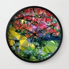Garden Landscape Low Poly Geometric Triangle Art Wall Clock