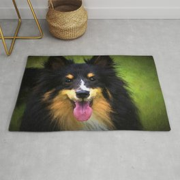 Tri colored Shetland Sheepdog Sheltie Rug