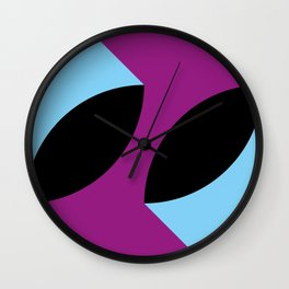 Two 3d seeds being thrown strongly, in a purple space. Wall Clock