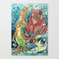 mermaids Canvas Prints featuring Mermaids by rumpelstiltskinned
