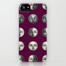 moon phases on dark purple iPhone Case