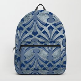 Blue And Silver Pattern Backpack