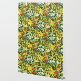 Butterfly garden in yellow Wallpaper