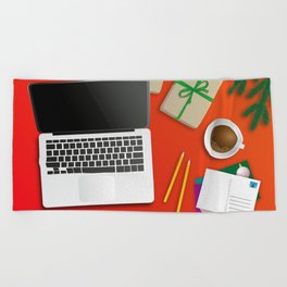 workplace at christmas time Beach Towel