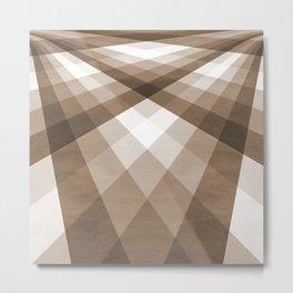 Beige & Taupe Groovy Checkerboard Metal Print