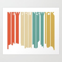 Retro 1970's Style New Brunswick New Jersey Skyline Art Print