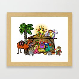 Christmas Nativity Cartoon Doodle Framed Art Print