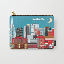 Nashville, Tennessee - Skyline Illustration by Loose Petals Carry-All Pouch