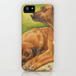 Rhodesian Ridgeback Dog portrait painting Safari style decor iPhone Case