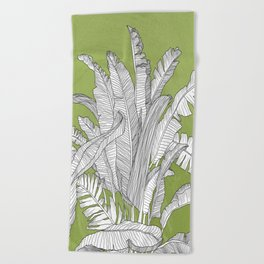 Banana Leaves Illustration - Green Beach Towel