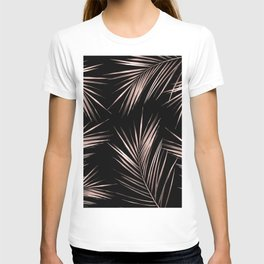 Rosegold Palm Tree Leaves on Midnight Black T-shirt