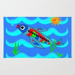 Whimsical Colorful Fish Airplane Rug