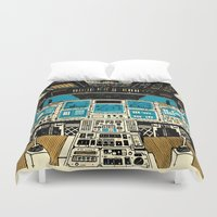 outer space Duvet Covers featuring To Outer Space! by Ben Chlapek