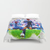 ronaldo Duvet Covers featuring The Buzz from Cristiano Ronaldo by Don Kuing