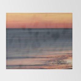 Fiery Sunset Over Galveston Beach Texas Throw Blanket