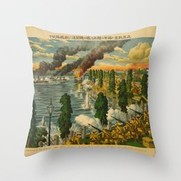 Vintage Print - Illustrations of the Siberian War (1919) - Fighting Between Cavalry and Warships Throw Pillow