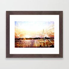 Boats and Lights Framed Art Print