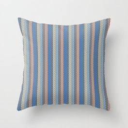Modern Geometric Cable Knit Sweater Pattern in Soothing Classic Blues Muted Orange Desert Colors  Throw Pillow
