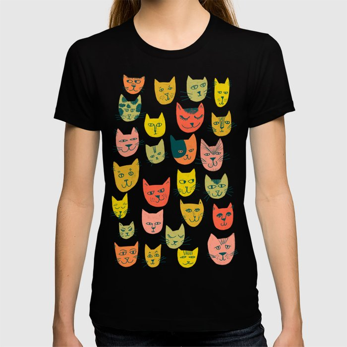 Meow! Colorful Cats Illustration T-shirt