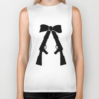 bow Biker Tanks featuring Bow by Panic Junkie