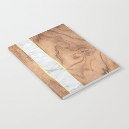 Wood Grain Stripes - White Marble #497 Notebook