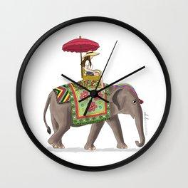 Woman on Elephant Wall Clock