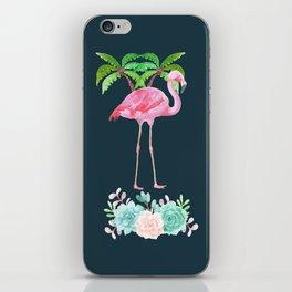 Pink Flamingo & Green Palm Tree iPhone Skin