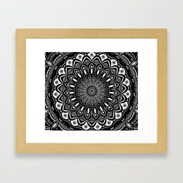 Bold Mandala Black and White Simple Minimal Minimalistic Framed Art Print