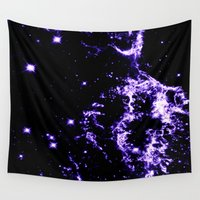 cosmic Wall Tapestries featuring COSMIC Electricity Purple by 2sweet4words Designs