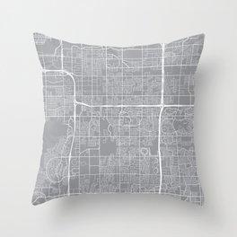 Tempe Map, Arizona USA - Pewter Throw Pillow