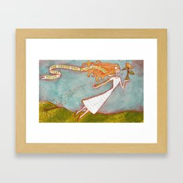 Flying Girl Lets Go, or Trust That The Seeds You Plant Will Grow Framed Art Print
