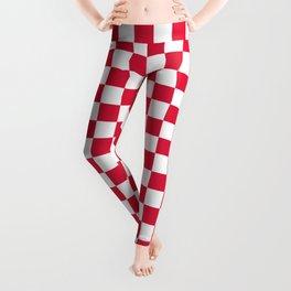 White and Crimson Red Checkerboard Leggings