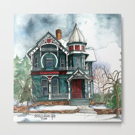 Blue House on a Grey Day Metal Print