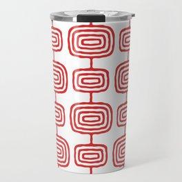 Mid Century Modern Atomic Rings Pattern Red 3 Travel Mug