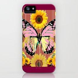 BURGUNDY SUNFLOWERS & PINK BUTTERFLY ART iPhone Case