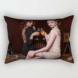 Flapper Girls Drinking Wine Rectangular Pillow