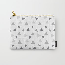 Modern geometrical pastel gray white triangles pattern Carry-All Pouch