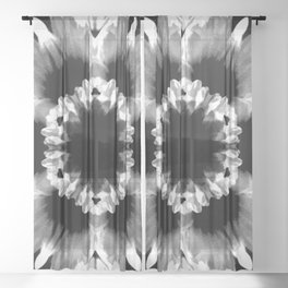 Daisies In Abstract Sheer Curtain