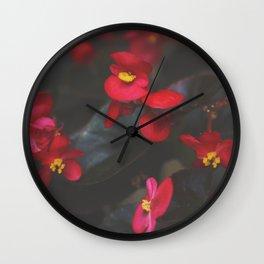 Crimson Begonia Wall Clock