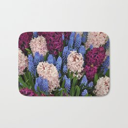 Coloful hyacinth garden Bath Mat