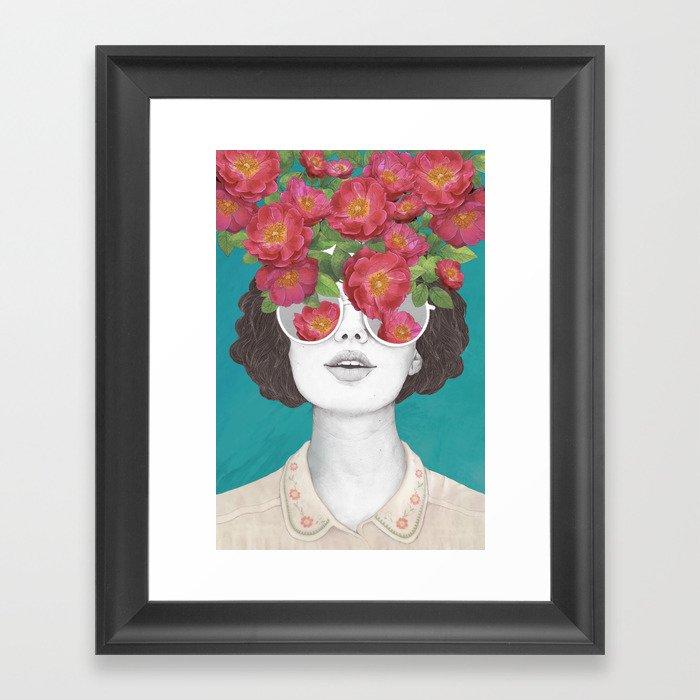 The optimist // rose tinted glasses Framed Art Print