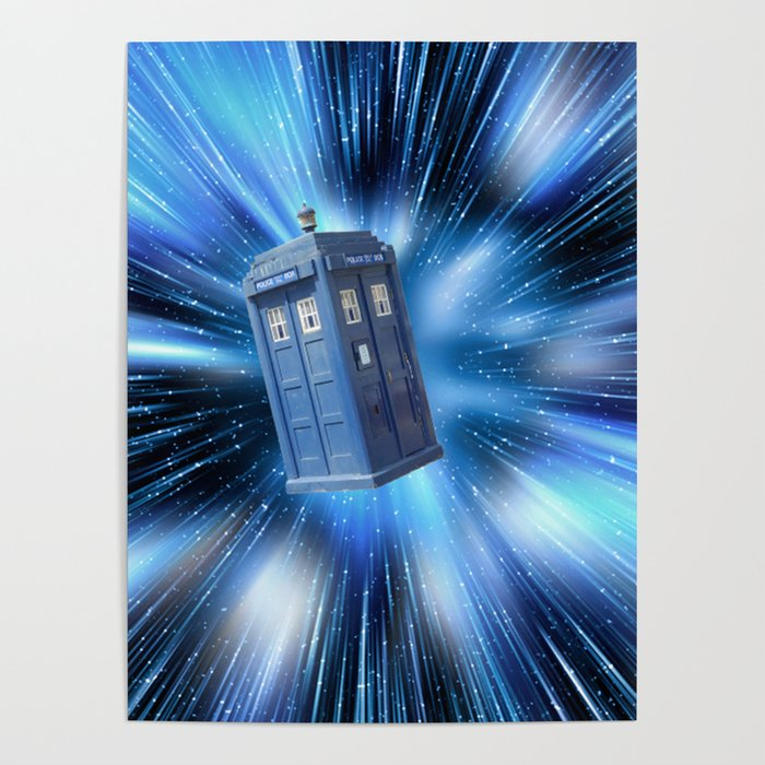 Doctor Who's TARDIS travelling through time BBC Poster