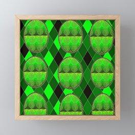 Fleur De Lis Holiday Harlequin FDL Green Pattern Framed Mini Art Print