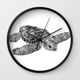 Sea Turtle Watercolor Art Wall Clock