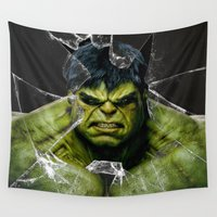 daenerys targaryen Wall Tapestries featuring Angry HULK  by bimorecreative