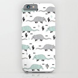Cool western cactus desert Armadillo Animals illustration pattern iPhone Case
