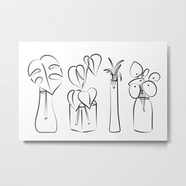 Plants in water bottles, black and white hand drawn illustration art Metal Print