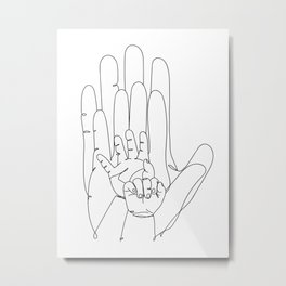 Family Hands One Line IV Metal Print