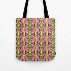 Pink roses with golden stripes pattern Tote Bag