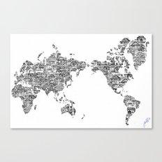 Passport Stamp Map 1 Canvas Print